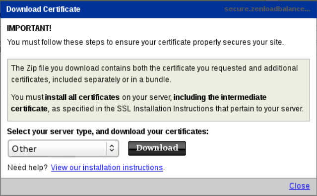 Certificate download