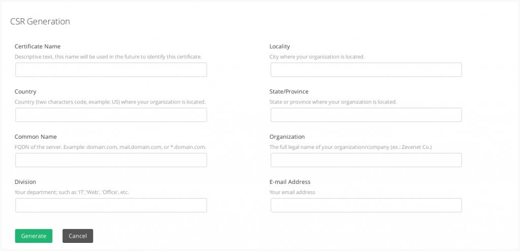 LSLB | SSL Certificates | Generate CSR | Zevenet