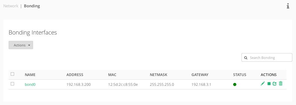 zevenet network bonding listing