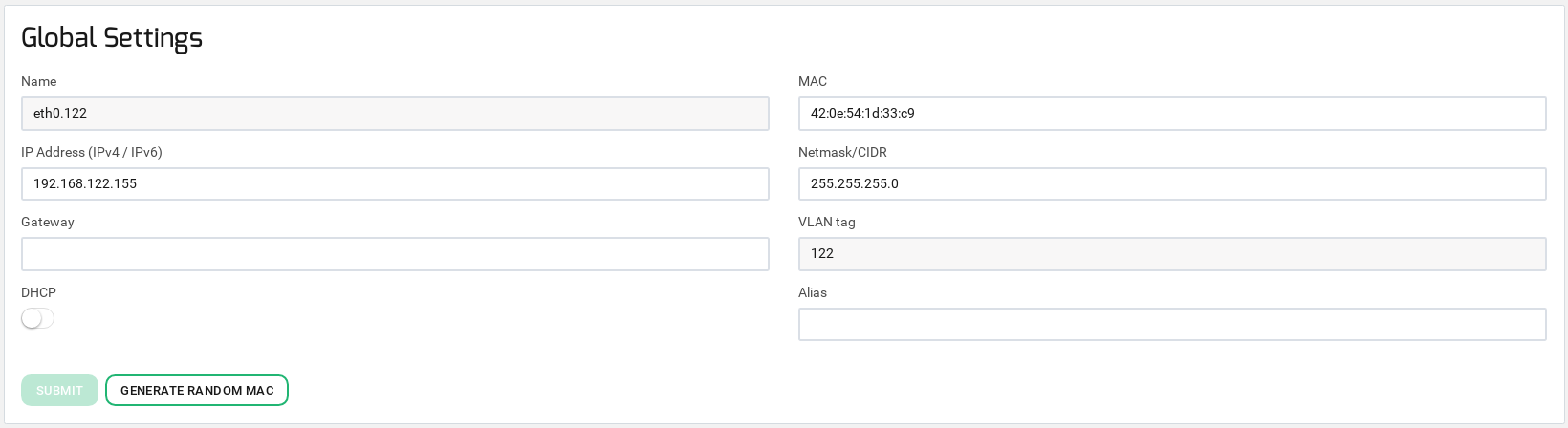 zevenet network vlan update settings