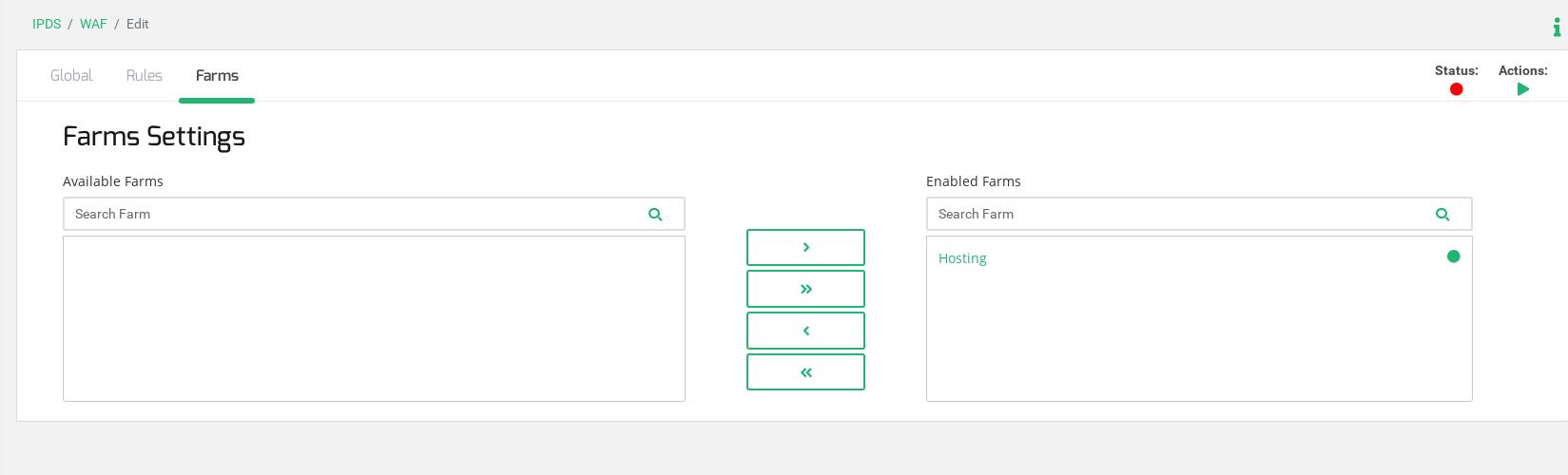 Zevenet IPDS WAF - Farm assignement